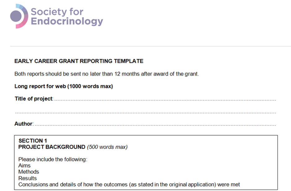 Society for Endocrinology early career grant